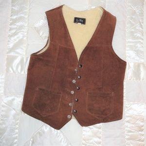 Vintage Suede Leather Shear-ling Vest Sz 40